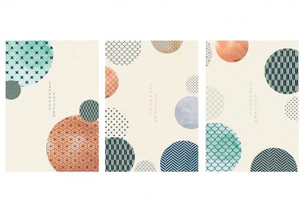 日本語テンプレート。幾何学的な背景。アジアンスタイルで水彩テクスチャ壁紙と抽象的な要素。