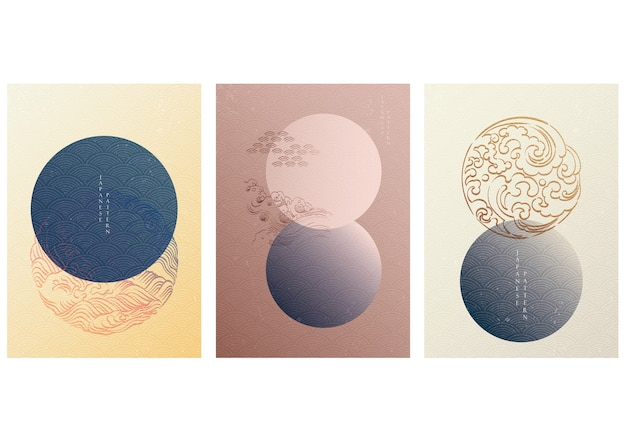 Japanese template with geometric pattern . circle background with hand draw wave elements in vintage style.