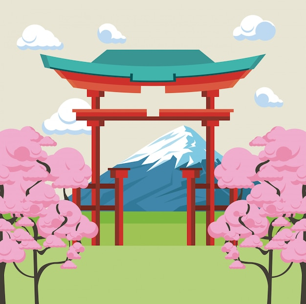 自然の中の日本の寺院