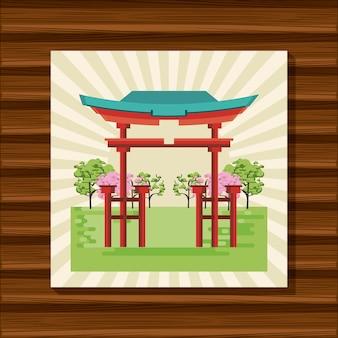 자연의 일본 사원