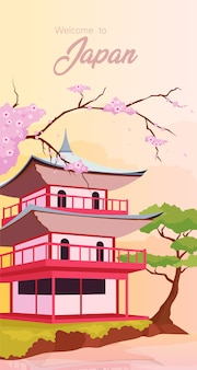 Japanese temple poster flat vector template. welcome to japan phrase. traditional asian buildings. brochure, booklet one page concept design with cartoon objects. spring holiday flyer, leaflet
