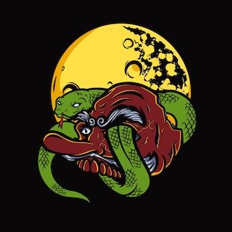 日本の天狗マスクとヘビのイラスト