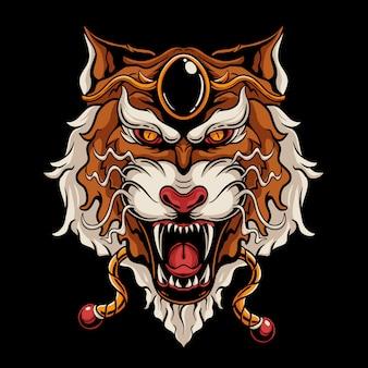 Japanese tiger head illustration. angry tiger