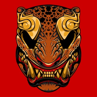 Japanese tiger mask illustration, tattoo and tshirt design