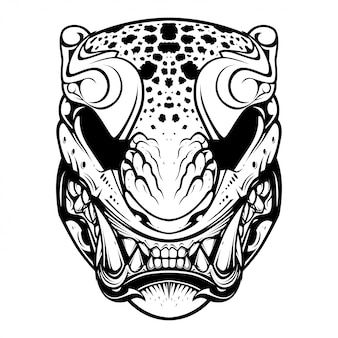 Japanese tiger mask illustration and tshirt design