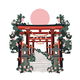 Japanese torii gate in japan. color vector flat cartoon illustration isolated on sun and white