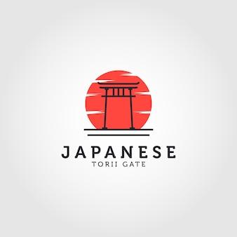 Japanese torii gate and sun icon vector logo illustration design