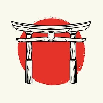 Японский шаблон ворот тории в винтажном стиле изолированных иллюстрация