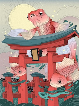 Japanese torii in sea; with moon and golden fishes