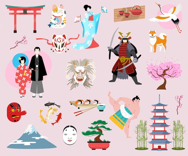孤立したオブジェクトの日本の伝統文化セット