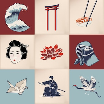 Japanese tradition style vectors
