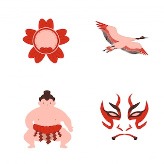 Japanese traditional classic art sumo crane mask and sakura