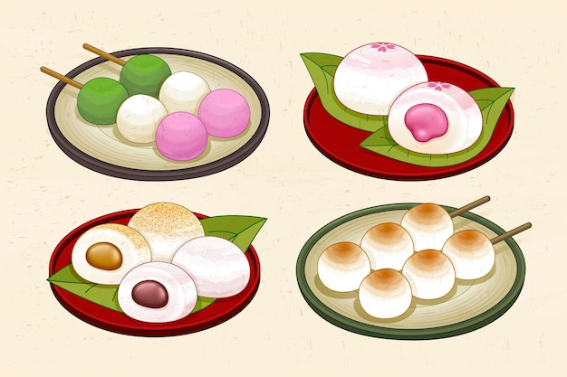 Japanese traditional dessert set with dango and mochi
