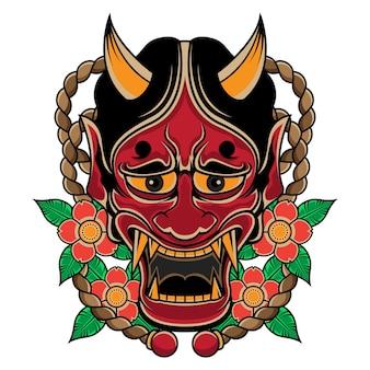 日本の伝統的な般若マスクタトゥー