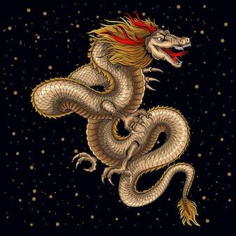 Japanese traditional old dragon illustration