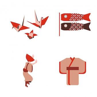 Japanese traditional origami and dancer wear kimono vector