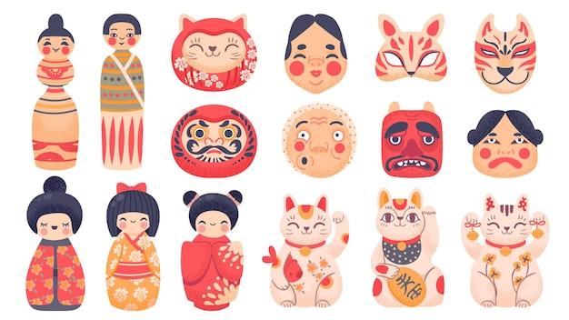 Японские традиционные игрушки. дарума, куклы кокэси, счастливый кот манэки нэко и маска из японии. набор векторных символов азиатской культуры милый мультфильм. японская игрушка, традиционная иллюстрация японского дарума