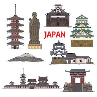 Японские туристические достопримечательности линейный значок со священной горой фудзи Premium векторы
