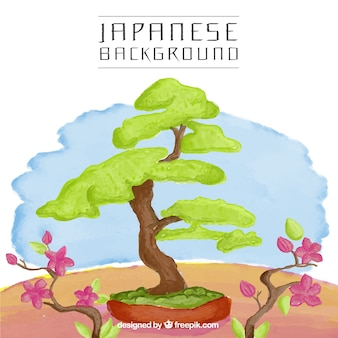 Japanese tree watercolor background
