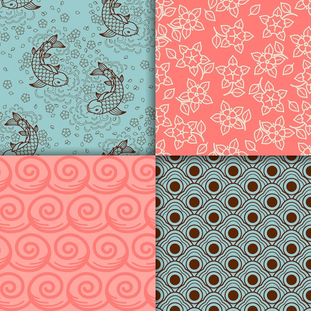 Japanese turqiouse and pink pattern set