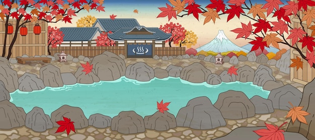 Japanese ukiyo-e style hot spring surrounded by maple leaves
