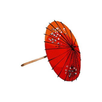 Japanese umbrella. vintage vector hatching color illustration. isolated on white