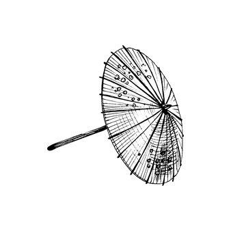 Japanese umbrella. vintage vector hatching illustration. isolated on white
