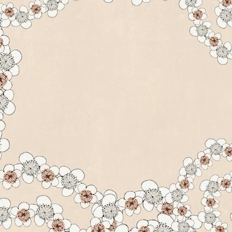 Japanese ume pattern vector frame, remix of artwork by watanabe seitei