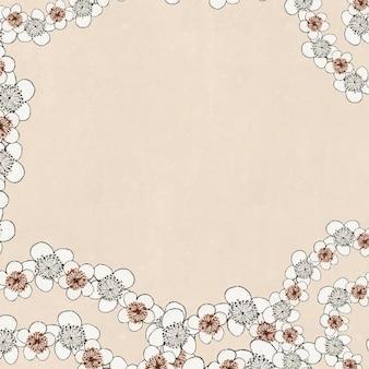 日本の梅模様のベクトルフレーム、渡辺省亭によるアートワークのリミックス