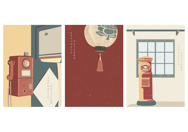 Japanese vintage poster design. telephone, lantern, post mail box elements. asian background  .