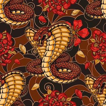 추상에 킹 코브라 국화와 사쿠라 꽃과 일본 빈티지 원활한 패턴