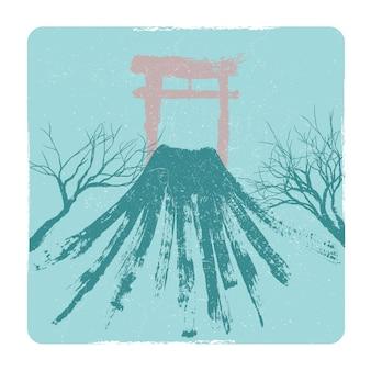 Japanese volkano, pagoda