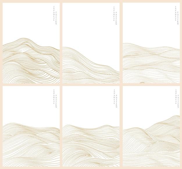 日本の波の抽象的な背景。オリエンタルスタイルのゴールドライン要素テンプレート。