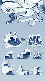 Japanese wave doodles