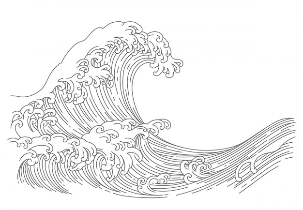 Japanese wave line art vector illustration.