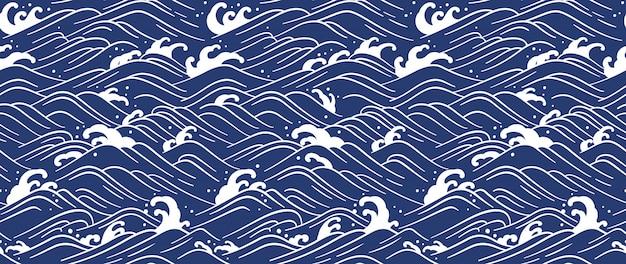 日本の波のシームレスな背景。ラインアートのベクトル図です。