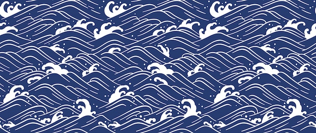 Japanese wave seamless background. line art vector illustration.