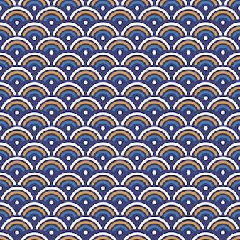 青、黄、白の色と日本の波のシームレスなパターンの背景