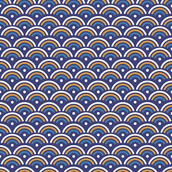 Japanese wave seamless pattern background with blue, yellow and white color