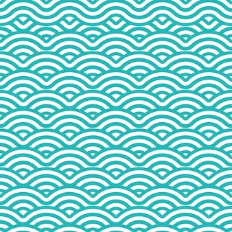 トスカと白い色の日本の波のシームレスなパターンの背景