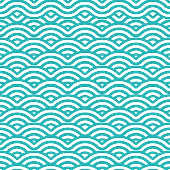 Japanese wave seamless pattern background with tosca and white color