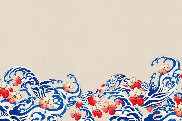 桜のベクトルの境界線を持つ日本の波、渡辺省亭によるアートワークのリミックス