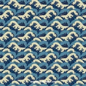 Japanese waves pattern Premium Vector