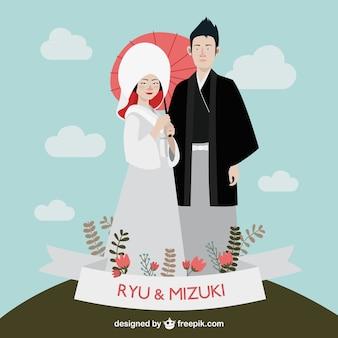 日本の結婚式のカップル