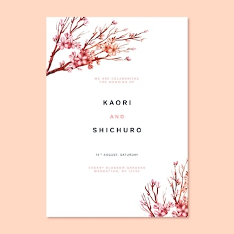 Japanese wedding invitation print template