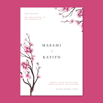 Japanese wedding invitation with cherry blossoms