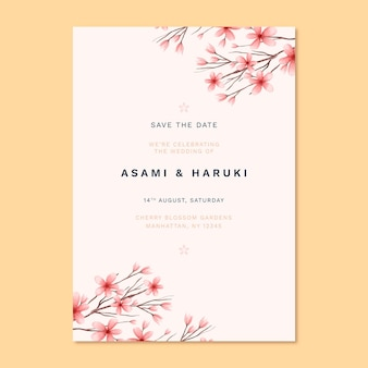 Japanese wedding invitation with cute flowers