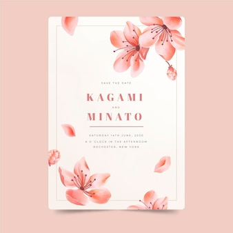 Japanese wedding invitation with falling flowers