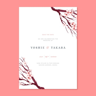 Japanese wedding invitation with sakura branch
