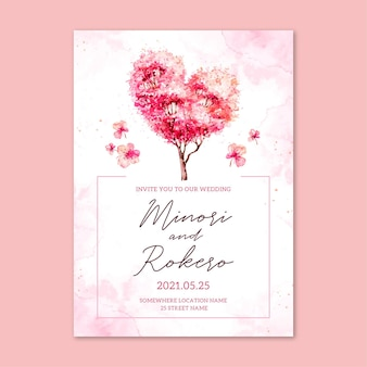 桜の花を持つ日本の結婚式の招待状